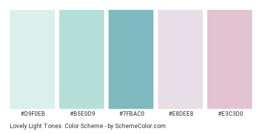 Lovely Light Tones - Color scheme palette thumbnail - #D9F0EB #B5E0D9 #7FBAC0 #E8DEE8 #E3C3D0