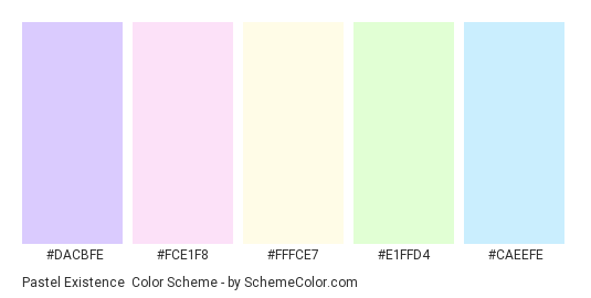 Pastel Existence - Color scheme palette thumbnail - #DACBFE #FCE1F8 #fffce7 #e1ffd4 #caeefe