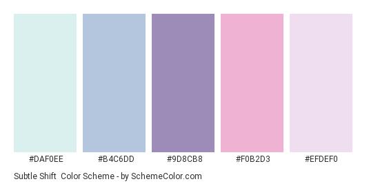 Subtle Shift - Color scheme palette thumbnail - #DAF0EE #B4C6DD #9D8CB8 #F0B2D3 #EFDEF0