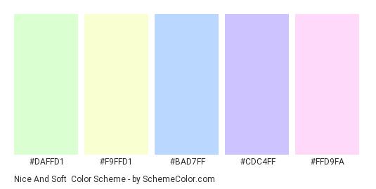 Nice and Soft - Color scheme palette thumbnail - #DAFFD1 #F9FFD1 #BAD7FF #CDC4FF #FFD9FA