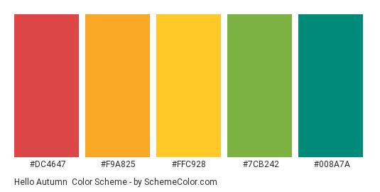 Hello Autumn - Color scheme palette thumbnail - #DC4647 #F9A825 #FFC928 #7CB242 #008A7A