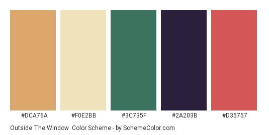 Outside the Window - Color scheme palette thumbnail - #DCA76A #F0E2BB #3C735F #2A203B #D35757