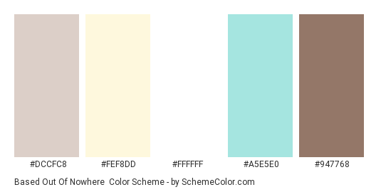 Based Out of Nowhere - Color scheme palette thumbnail - #DCCFC8 #FEF8DD #FFFFFF #A5E5E0 #947768