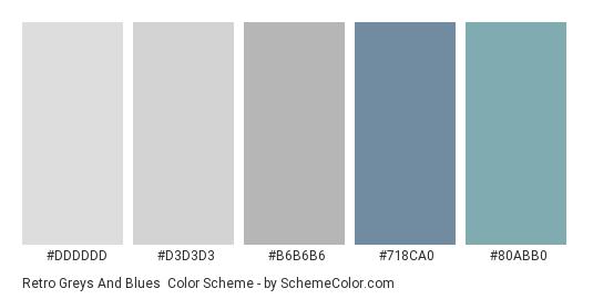 Retro Greys and Blues - Color scheme palette thumbnail - #DDDDDD #D3D3D3 #b6b6b6 #718ca0 #80ABB0