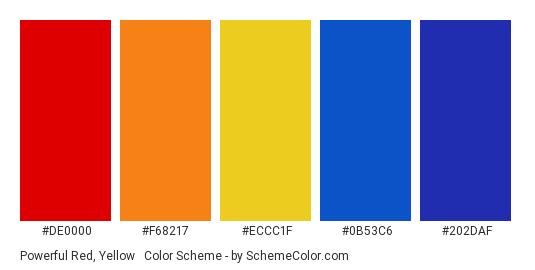 Powerful Red, Yellow & Blue - Color scheme palette thumbnail - #DE0000 #F68217 #ECCC1F #0B53C6 #202DAF
