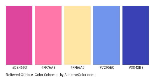 Relieved of Hate - Color scheme palette thumbnail - #DE469D #FF76A8 #FFE6A5 #7295EC #3842B3