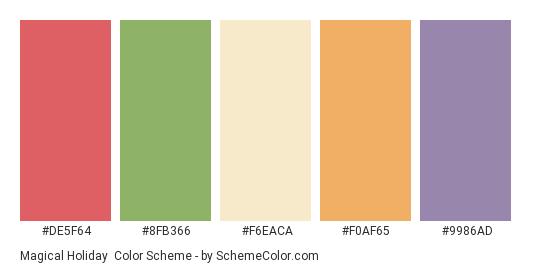 Magical Holiday - Color scheme palette thumbnail - #DE5F64 #8FB366 #F6EACA #F0AF65 #9986AD