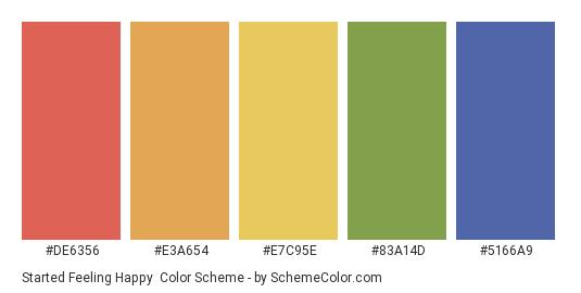 Started Feeling Happy - Color scheme palette thumbnail - #DE6356 #E3A654 #E7C95E #83A14D #5166A9