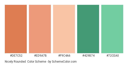 Nicely Rounded - Color scheme palette thumbnail - #DE7C52 #ED9A7B #F9C4A6 #429B74 #72CEA0