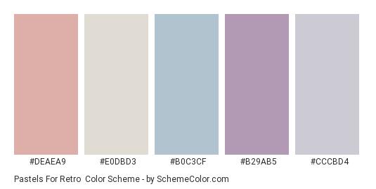 Pastels for Retro - Color scheme palette thumbnail - #DEAEA9 #E0DBD3 #B0C3CF #B29AB5 #CCCBD4