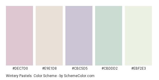 Wintery Pastels - Color scheme palette thumbnail - #DEC7D0 #E9E1D8 #CBC5D5 #CBDDD2 #EBF2E3