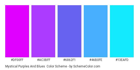 Mystical Purples and Blues - Color scheme palette thumbnail - #DF00FF #AC3BFF #6862F1 #46B0FE #13EAFD