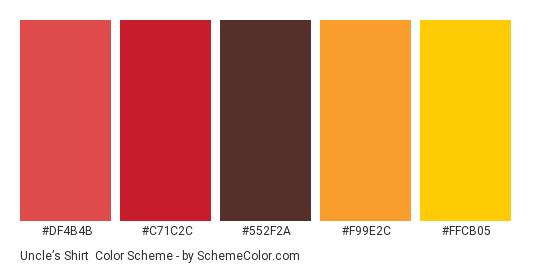 Uncle's Shirt - Color scheme palette thumbnail - #DF4B4B #C71C2C #552F2A #F99E2C #FFCB05