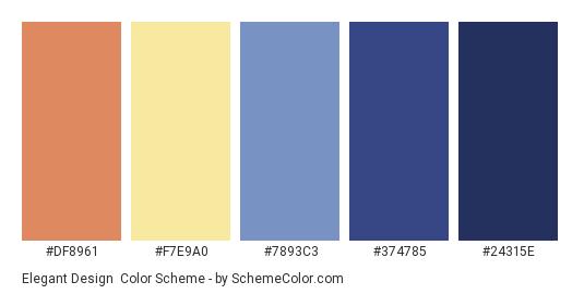 Elegant Design - Color scheme palette thumbnail - #DF8961 #F7E9A0 #7893C3 #374785 #24315E