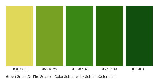 Green Grass of the Season - Color scheme palette thumbnail - #DFD858 #77A123 #3B8716 #246608 #114F0F