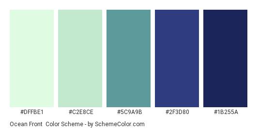Ocean Front - Color scheme palette thumbnail - #DFFBE1 #C2E8CE #5C9A9B #2F3D80 #1B255A