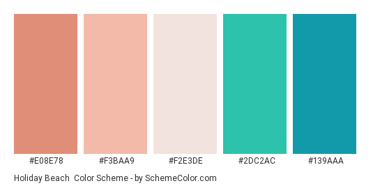 Holiday Beach - Color scheme palette thumbnail - #E08E78 #F3BAA9 #F2E3DE #2DC2AC #139AAA