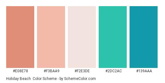 Holiday Beach - Color scheme palette thumbnail - #E08E78 #F3BAA9 #F2E3DE #2DC2AC #139AAA