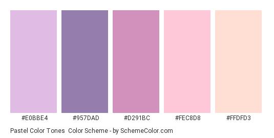 Pastel Color Tones - Color scheme palette thumbnail - #E0BBE4 #957DAD #D291BC #FEC8D8 #FFDFD3