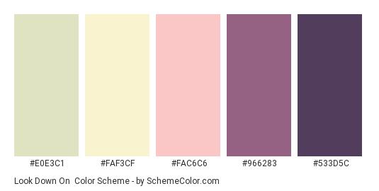 Look Down On - Color scheme palette thumbnail - #E0E3C1 #FAF3CF #FAC6C6 #966283 #533D5C