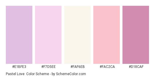 Pastel Love - Color scheme palette thumbnail - #E1BFE3 #F7D5EE #FAF6EB #FAC2CA #D18CAF