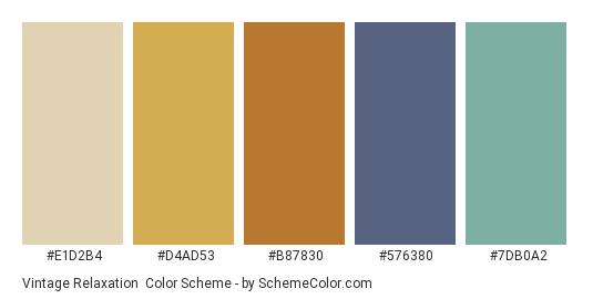 Vintage Relaxation - Color scheme palette thumbnail - #E1D2B4 #D4AD53 #B87830 #576380 #7DB0A2