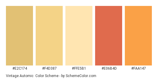 Vintage Automic - Color scheme palette thumbnail - #E2C174 #F4D387 #FFE5B1 #E06B4D #FAA147