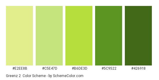 Greenz 2 - Color scheme palette thumbnail - #E2EE8B #c5e47d #b6de3d #5c9522 #426918