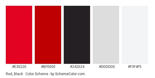 Red, Black & White - Color scheme palette thumbnail - #E30220 #BF0000 #242024 #DDDDDD #F3F4F5