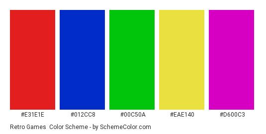 Retro Games - Color scheme palette thumbnail - #E31E1E #012CC8 #00C50A #EAE140 #D600C3