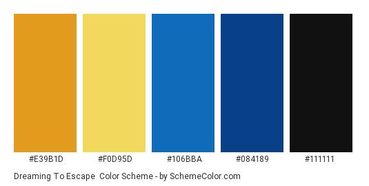 Dreaming to Escape - Color scheme palette thumbnail - #E39B1D #F0D95D #106BBA #084189 #111111