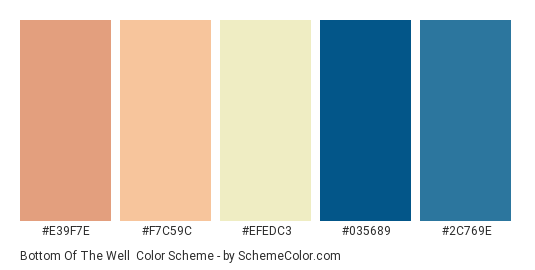 Bottom of the Well - Color scheme palette thumbnail - #E39F7E #F7C59C #EFEDC3 #035689 #2C769E