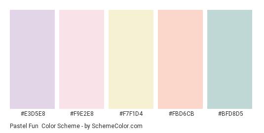 Pastel Fun - Color scheme palette thumbnail - #E3D5E8 #F9E2E8 #F7F1D4 #FBD6CB #BFD8D5