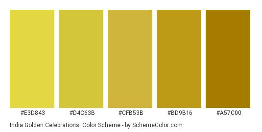 India Golden Celebrations - Color scheme palette thumbnail - #E3D843 #D4C63B #CFB53B #BD9B16 #A57C00