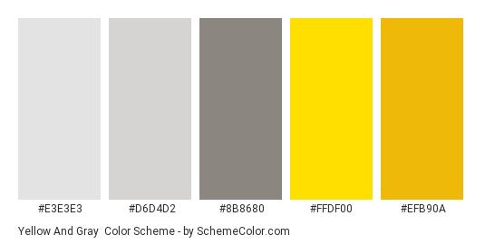 Yellow and Gray - Color scheme palette thumbnail - #E3E3E3 #D6D4D2 #8B8680 #FFDF00 #EFB90A