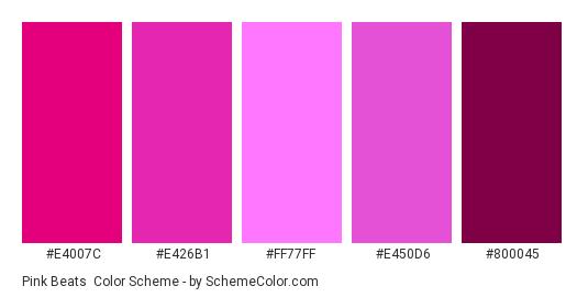 Pink Beats - Color scheme palette thumbnail - #E4007C #E426B1 #FF77FF #E450D6 #800045