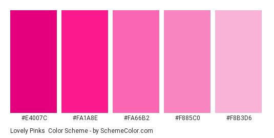 Lovely Pinks - Color scheme palette thumbnail - #E4007C #FA1A8E #FA66B2 #F885C0 #F8B3D6