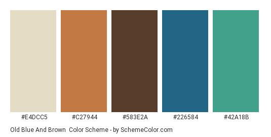 Old Blue and Brown - Color scheme palette thumbnail - #E4DCC5 #C27944 #583E2A #226584 #42A18B