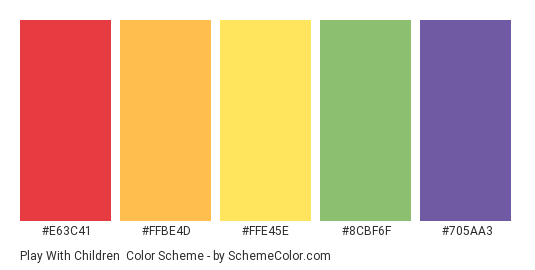 Play with Children - Color scheme palette thumbnail - #E63C41 #FFBE4D #FFE45E #8CBF6F #705AA3