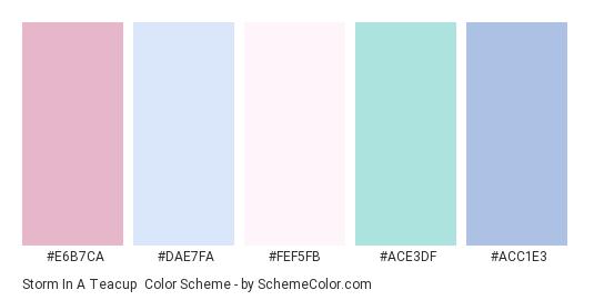 Storm in a Teacup - Color scheme palette thumbnail - #E6B7CA #DAE7FA #FEF5FB #ACE3DF #ACC1E3