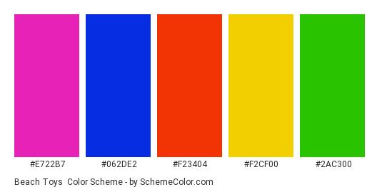 Beach Toys - Color scheme palette thumbnail - #E722B7 #062DE2 #F23404 #F2CF00 #2AC300