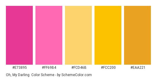 Oh, My Darling - Color scheme palette thumbnail - #E73895 #FF69B4 #FCD46B #FCC200 #EAA221