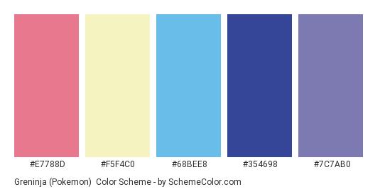Greninja (Pokemon) - Color scheme palette thumbnail - #E7788D #F5F4C0 #68BEE8 #354698 #7C7AB0