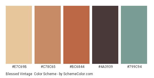 Blessed Vintage - Color scheme palette thumbnail - #E7C69B #C78C65 #BC6844 #4A3939 #799C94