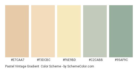 Pastel Vintage Gradient - Color scheme palette thumbnail - #E7CAA7 #F3DCBC #F6E9BD #C2CABB #95AF9C