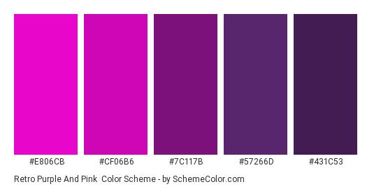 Retro Purple and Pink - Color scheme palette thumbnail - #E806CB #CF06B6 #7C117B #57266D #431C53