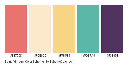 Being Vintage - Color scheme palette thumbnail - #E8756D #FCE9CC #F7D585 #5DB7A8 #50335E