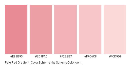 Pale Red Gradient - Color scheme palette thumbnail - #E88B95 #ED9FA6 #F2B2B7 #F7C6C8 #FCD9D9