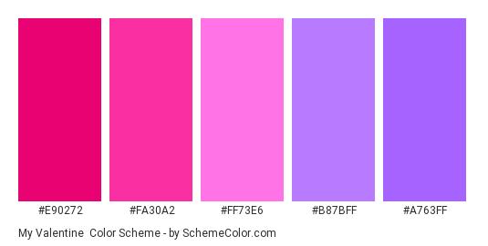 My Valentine - Color scheme palette thumbnail - #E90272 #FA30A2 #FF73E6 #B87BFF #A763FF