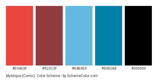 Mystique (Comic) - Color scheme palette thumbnail - #E9463F #923C3F #64B9E0 #0082A8 #000000
